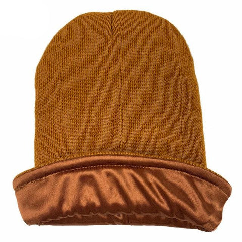 Brown Satin Lined Beanie - Taelor Boutique