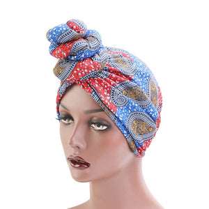 Paisley Red Blue Knotted Twist Turban - Taelor Boutique