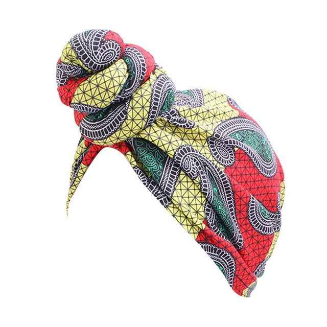Paisley Yellow Red Knotted Twist Turban - Taelor Boutique