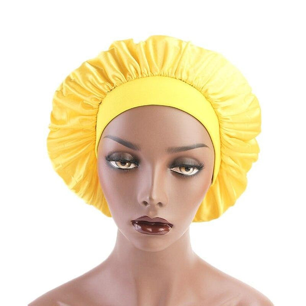 Yellow Wide Band Silky Bonnet - Taelor Boutique