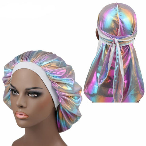 Multicolour #2 Shiny Silk Durag & Extra Large Bonnet Set