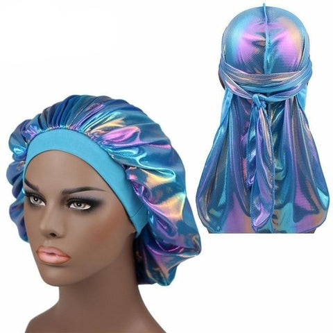Multicolour #4 Shiny Silk Durag & Extra Large Bonnet Set