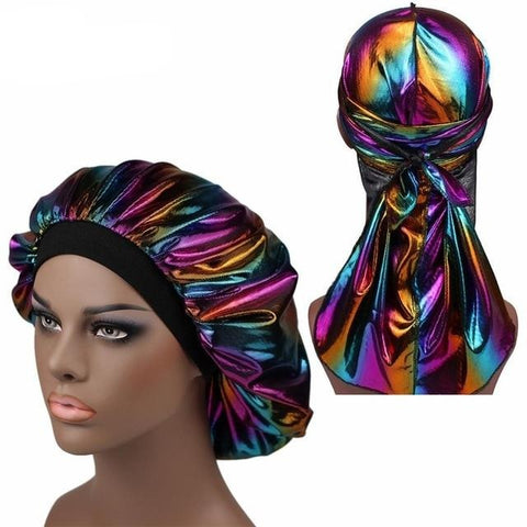 Multicolour #5 Shiny Silk Durag & Extra Large Bonnet Set