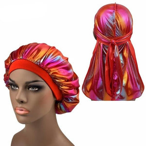 Multicolour #1 Shiny Silk Durag & Extra Large Bonnet Set