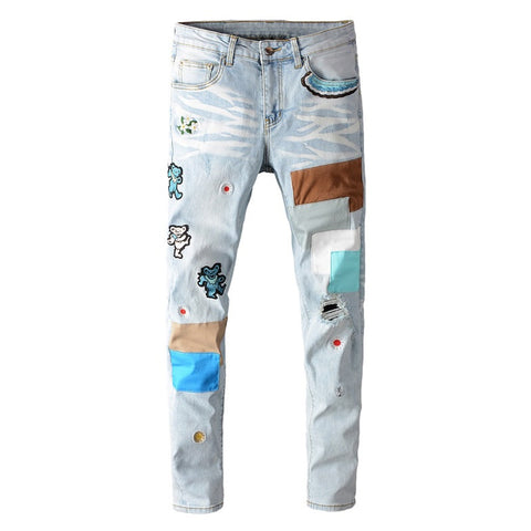 Blue Bear Embroidery Patchwork Jeans