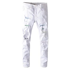 White Colourful Crystal Destroyed Jeans