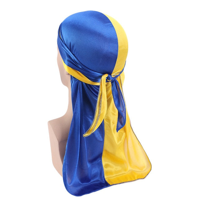 Blue & Yellow Two Tone Silky Durag