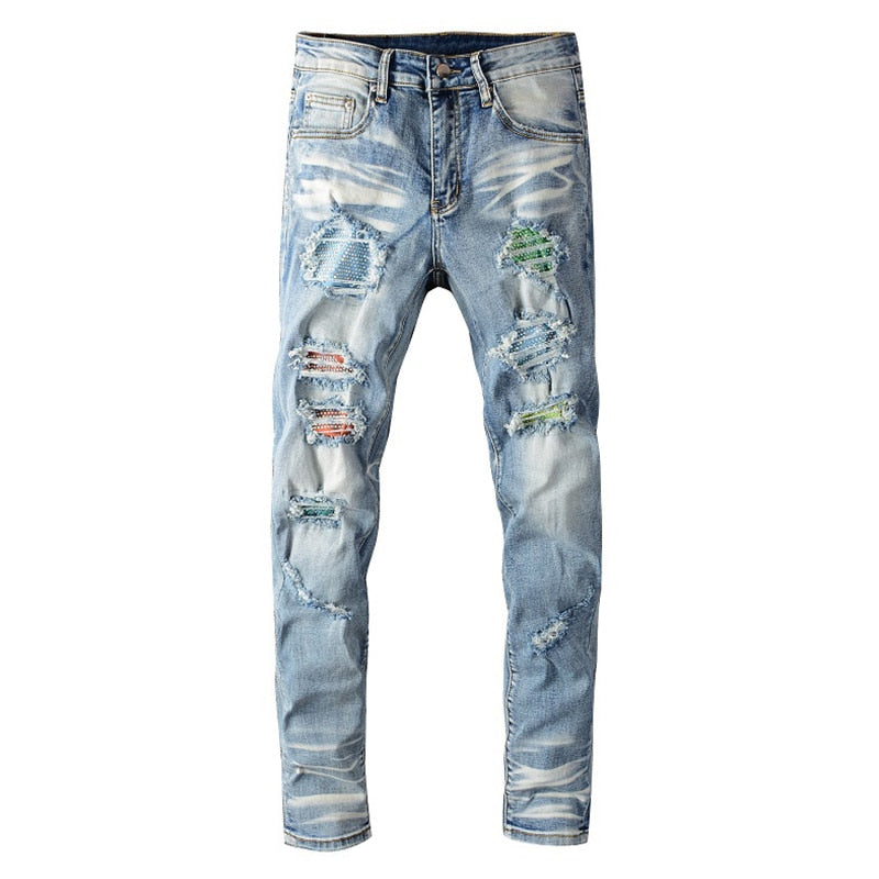 Blue Multi Colour Crystal Destroyed Jeans