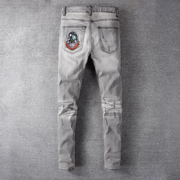 Grey Bear Embroidery Patchwork Jeans