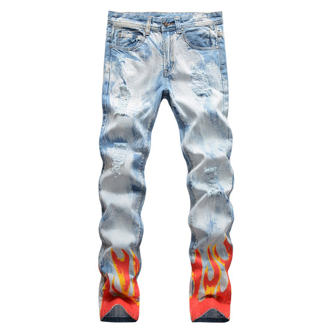 Light Blue Snow Washed Distressed Flame Print Jeans