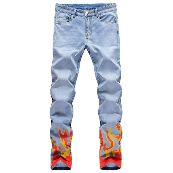 Blue Flame Print Jeans
