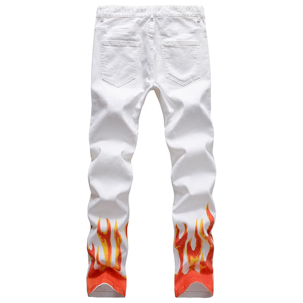 White Flame Print Jeans