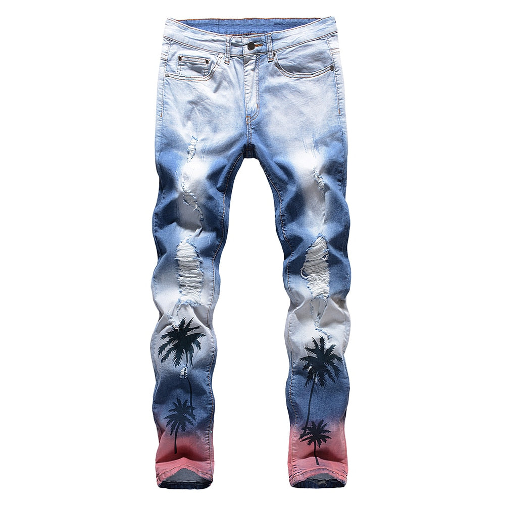 Blue Palm Tree Ripped Jeans