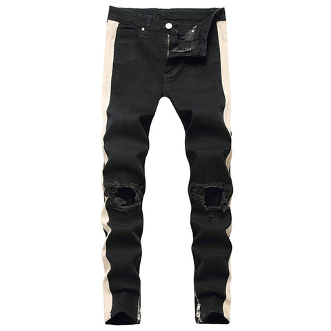 Black Side Stripe Ripped Knee Jeans