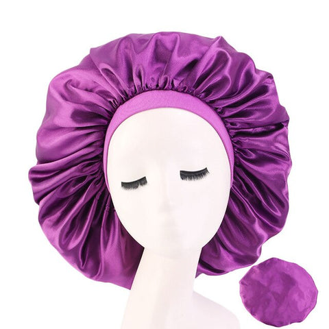 Purple Extra Large Wide Band Silky Bonnet
