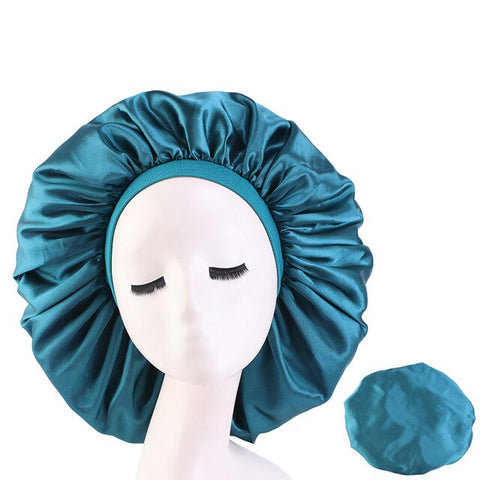 Teal Extra Large Wide Band Silky Bonnet