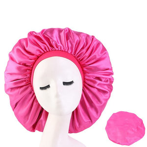 Hot Pink Extra Large Wide Band Silky Bonnet