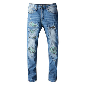 Blue Green Crystal Plant Art Patchwork Jeans