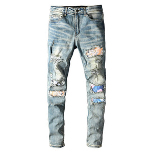 Blue Floral Art Patchwork Jeans