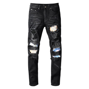 Black Floral Art Patchwork Jeans