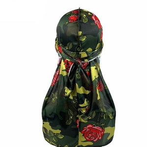 Silk Green Rose Camo Durag