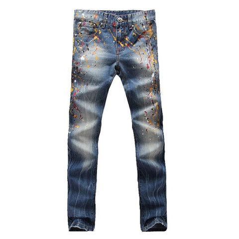 Washed Blue Coloured Painted Jeans