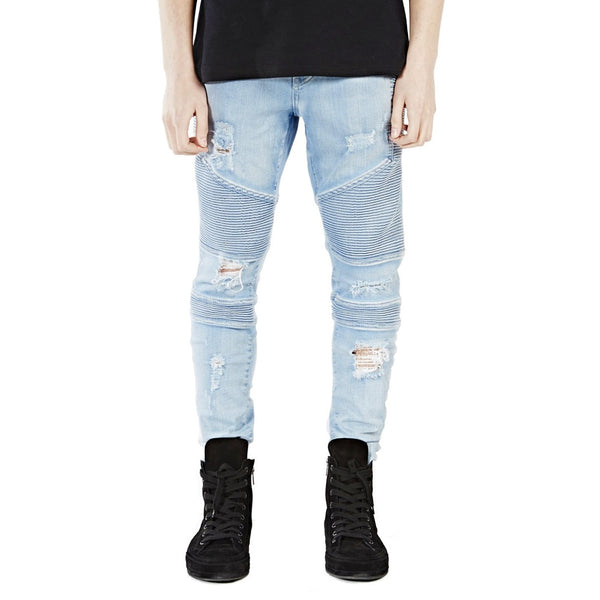 Light Blue Ripped Skinny Biker Jeans - Taelor Boutique