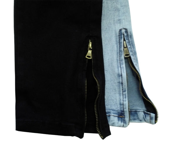 Black Skinny Ripped Jeans with Ankle Zipper - Taelor Boutique