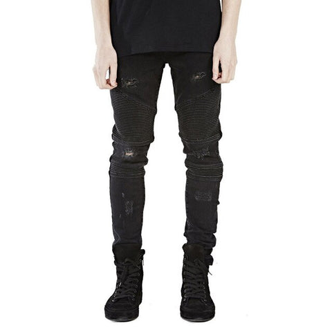 Black Ripped Skinny Biker Jeans - Taelor Boutique