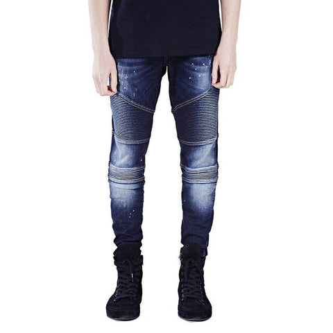 Dark Blue Ripped Skinny Biker Jeans - Taelor Boutique