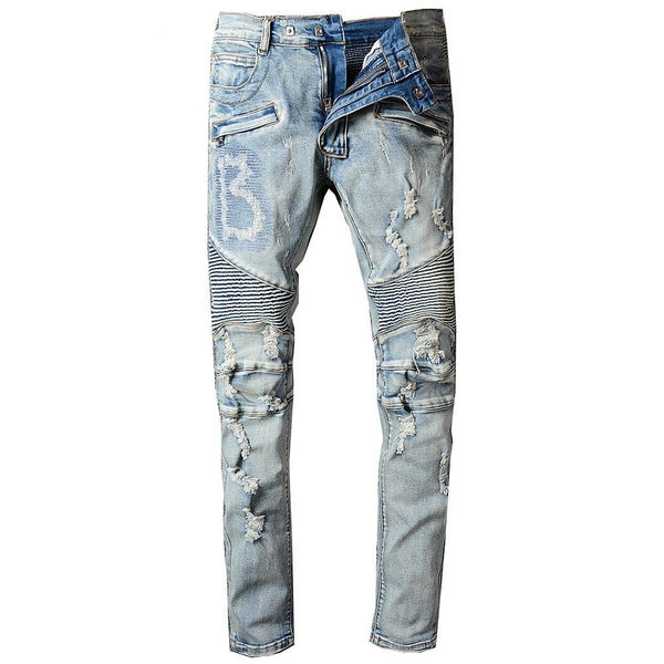 Light Blue Distressed Biker Jeans - Taelor Boutique