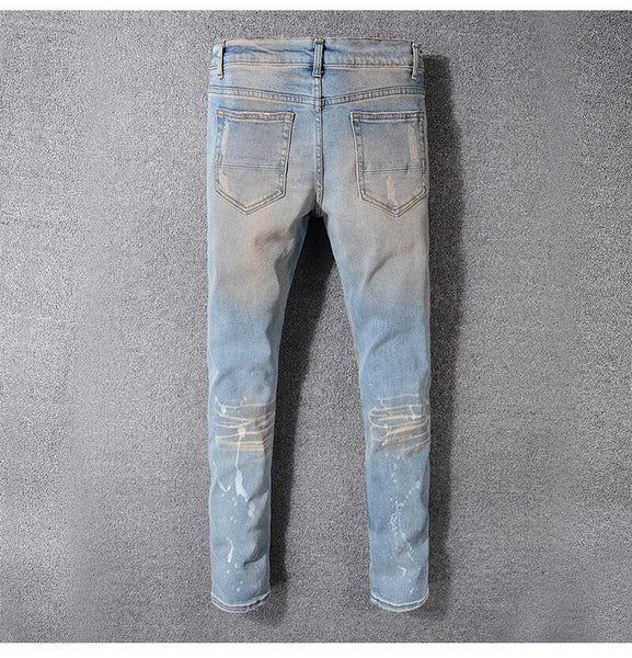 Blue Ripped Crystal Patchwork Jeans - Taelor Boutique