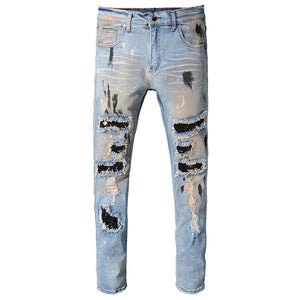 Blue Studded Patchwork Jeans - Taelor Boutique