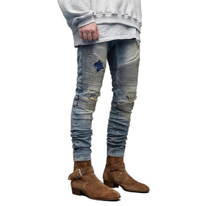 Mens Skinny Ripped Biker Jeans - Taelor Boutique