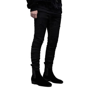 Mens Skinny Ripped Black Biker Jeans - Taelor Boutique