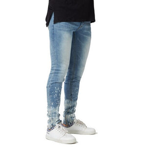 Blue Skinny Paint Side Ankle Zipper Jeans - Taelor Boutique