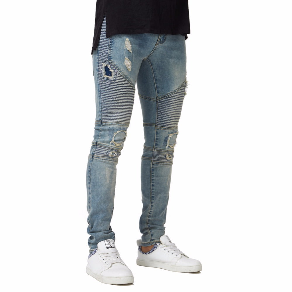 Light Blue Ripped Biker Skinny Jeans - Taelor Boutique