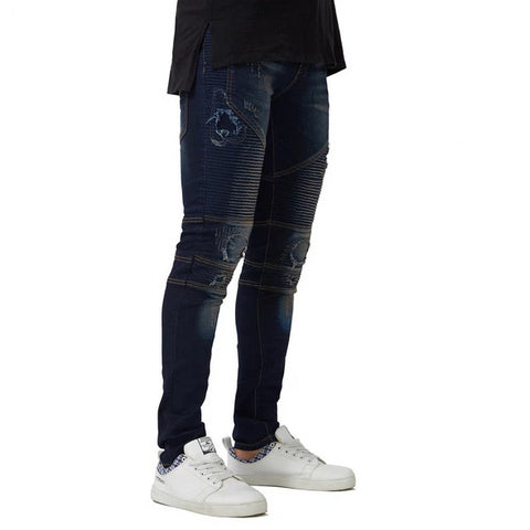 Dark Blue Ripped Biker Skinny Jeans - Taelor Boutique