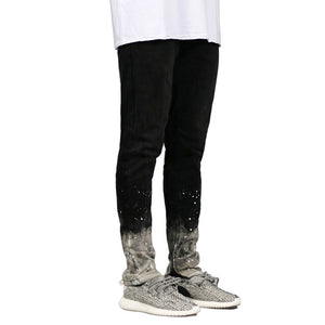 Men Dip Dye Paint Splatter Ripped Skinny Jeans - Taelor Boutique