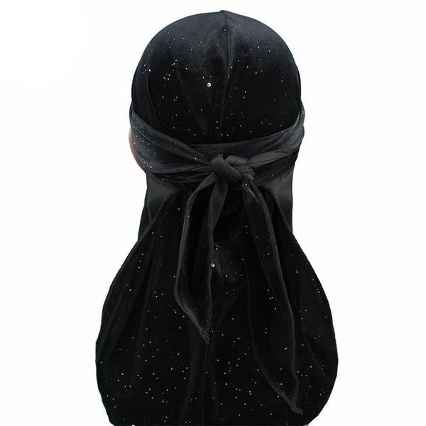 Black Luxury Shiny Velvet Durag - Taelor Boutique