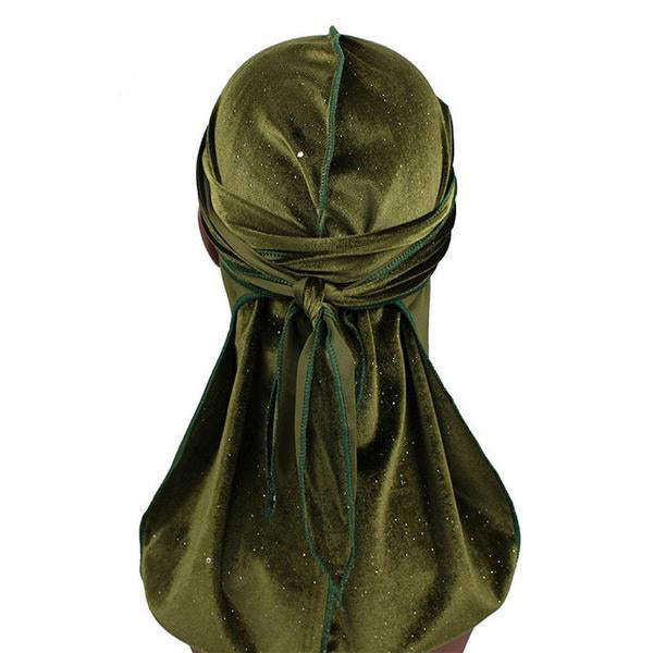 Army Green Luxury Shiny Velvet Durag - Taelor Boutique