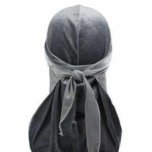 Grey Luxury Shiny Velvet Durag - Taelor Boutique
