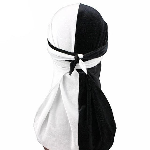 Black & White Two Tone Velvet Durag - Taelor Boutique