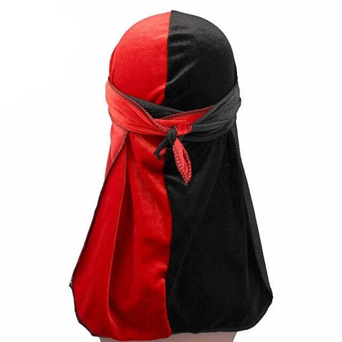 Red & Black Two Tone Velvet Durag - Taelor Boutique
