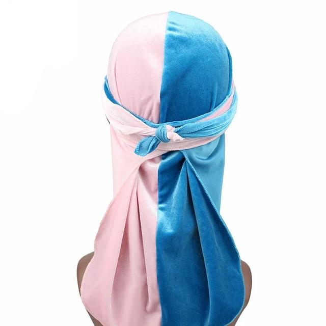 Pink & Blue Two Tone Velvet Durag - Taelor Boutique