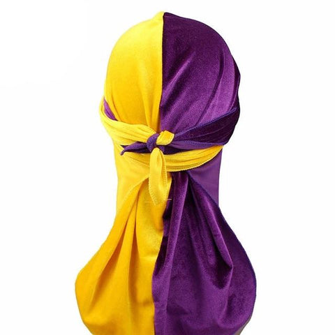 Purple & Yellow Two Tone Velvet Durag - Taelor Boutique