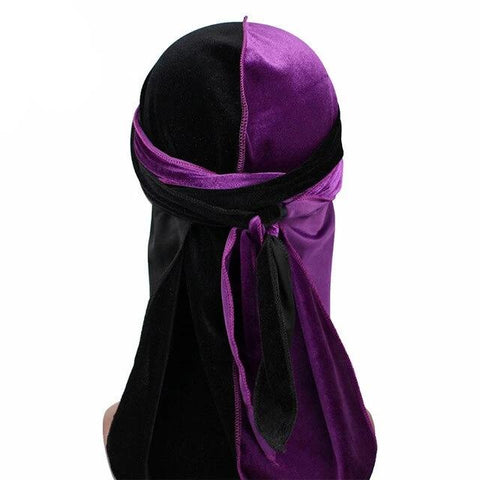 Purple & Black Two Tone Velvet Durag - Taelor Boutique