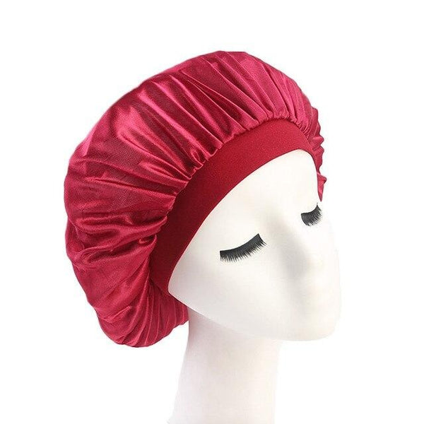 Wine Red Wide Band Silky Bonnet - Taelor Boutique