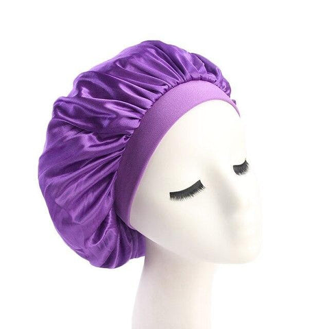 Purple Wide Band Silky Bonnet - Taelor Boutique