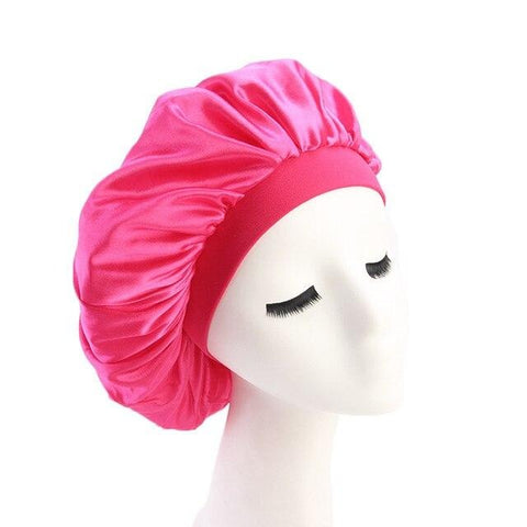 Hot Pink Wide Band Silky Bonnet - Taelor Boutique